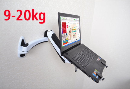 DL GST112W LP1 full motion aluminum gas spring dual arm laptop WALL Mounted bracket stand grommet