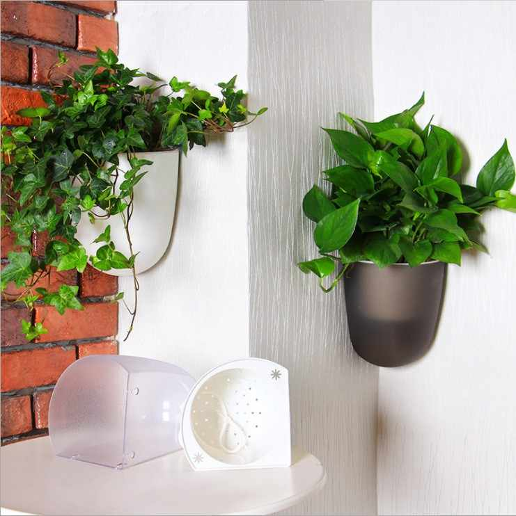large size Self Watering Plant Flower Pot Wall Hanging Wall corner Plastic Planter Basket Garden Supply Home Garden with Hooks