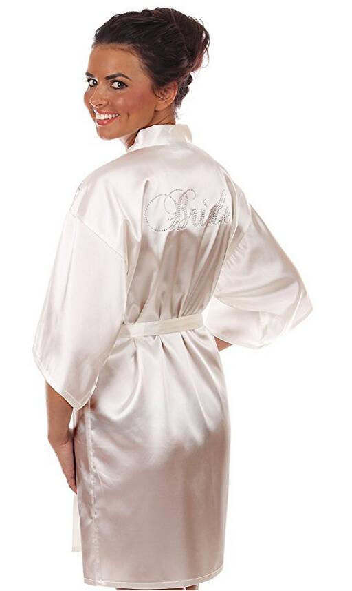 Robe Wedding Bride Women Sleepwear nightwear White Bridal Dress ...