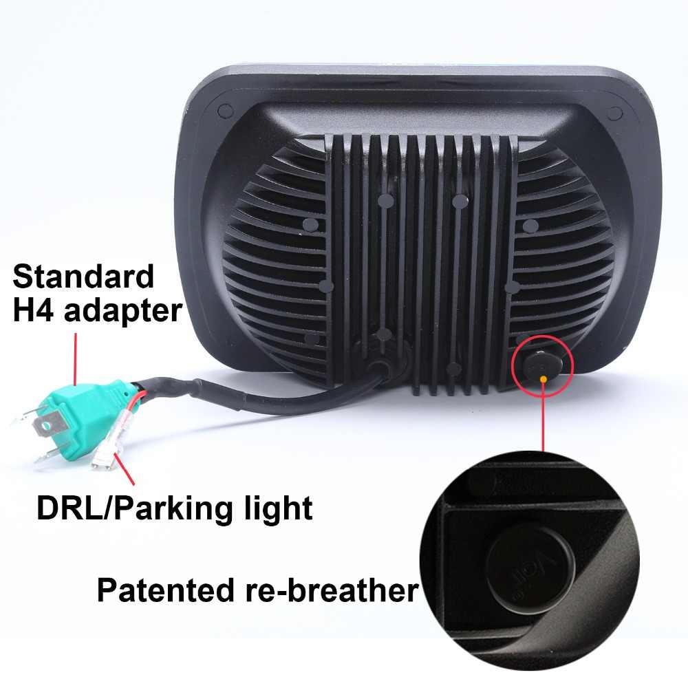 hight resolution of  pair rectangle h6054 led headlights 5x7 7x6 headlamp drl hi low beam for