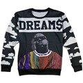 Новый Хип-хоп Biggie smalls Мечты пуловер толстовки 3d печати характер толстовка мужчины/женщины плюс размер S-XXL Груза падения