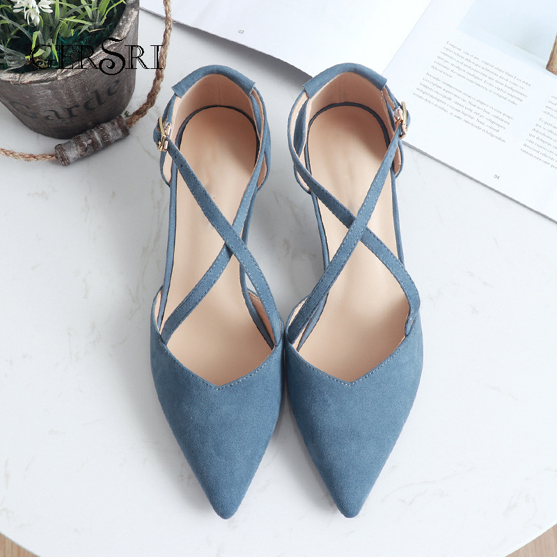Gersri Women Pointed Toe Pumps Hasp High Heels 5cm Thin Heels Conciss Elegant Single Shoes Spring New Pumps