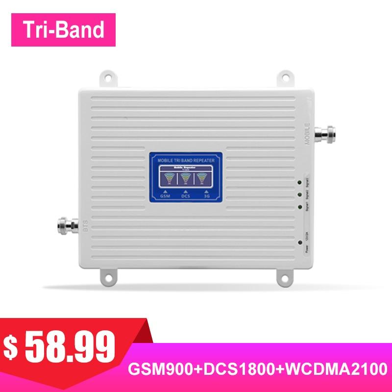 Booster 2G 3G 4G Signal pour téléphone portable cellulaire Signal LTE amplificateur Triband GSM DCS UMTS 70dB Gain 900 1800 2100 AGC LCD #
