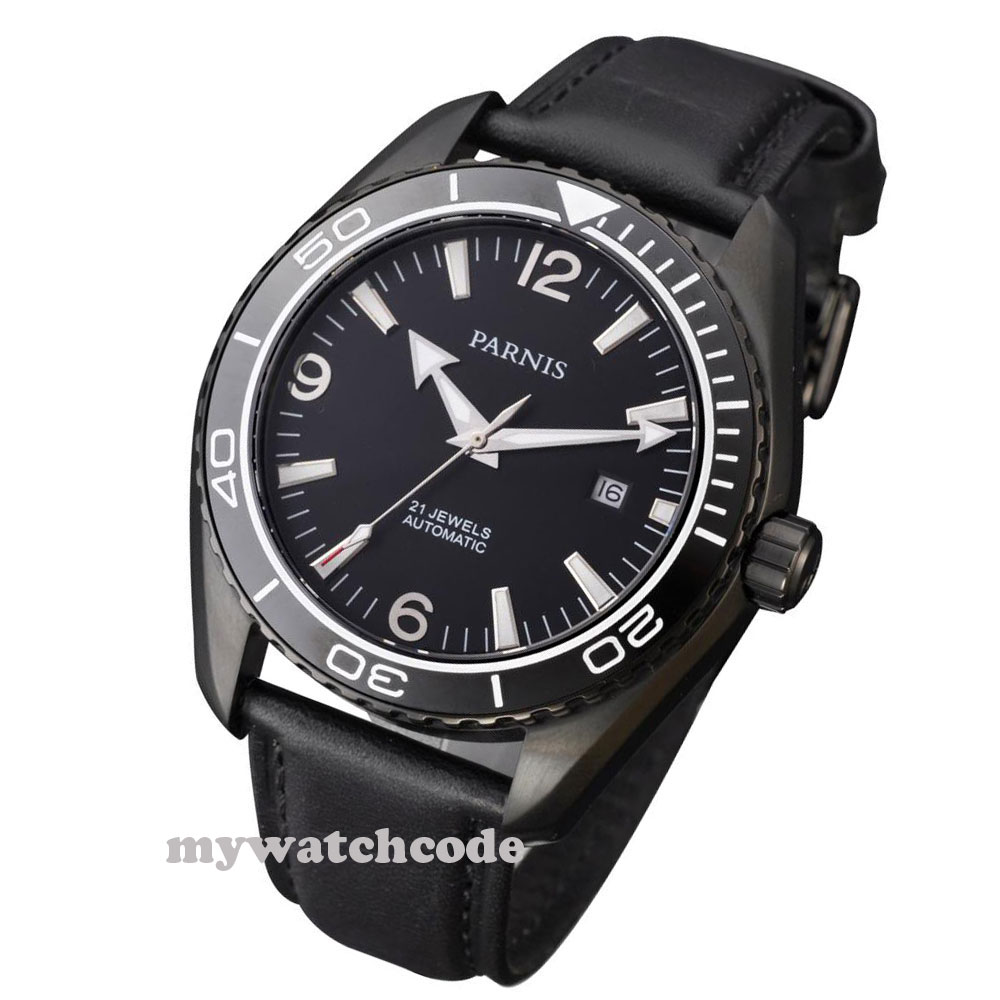 45mm Parnis black dial PVD Sapphire Glass Ceramic Bezel Automatic mens Watch 30545mm Parnis black dial PVD Sapphire Glass Ceramic Bezel Automatic mens Watch 305