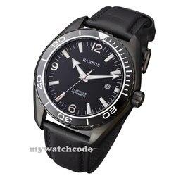 45mm czarna tarcza parnis PVD szafirowe szkło ceramiczna ramka szkiełka zegarka automatyczny męski zegarek 305