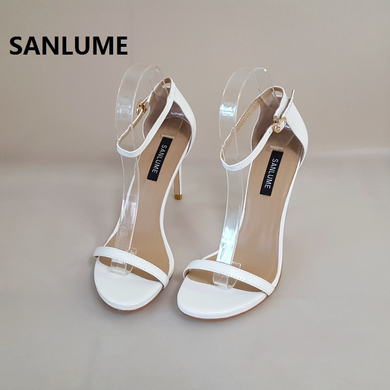 SANLUME Women Genuine leather High heel Sandals Sexy Party Office Shoes Thin pumps 100 Leather shoes