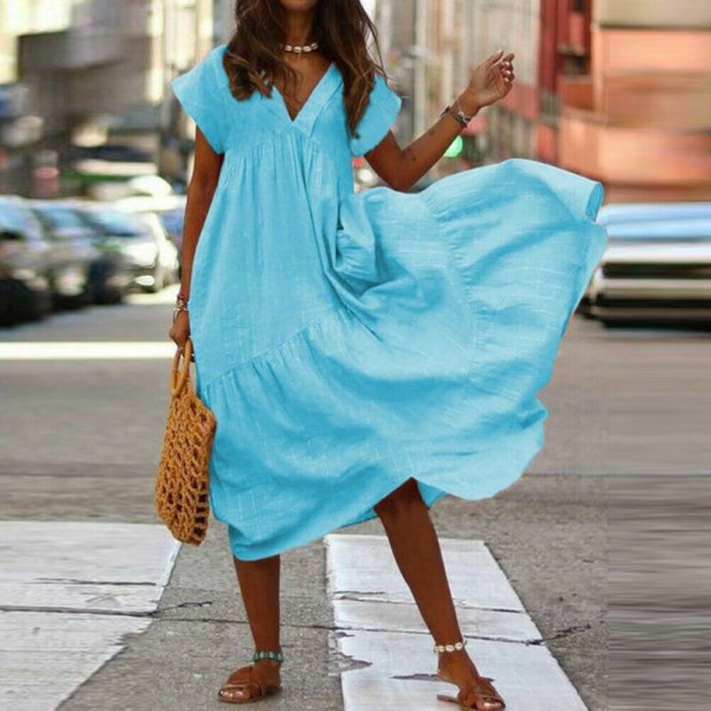 Women Cotton Linen Maxi Dress Short Sleeve Casual Boho Kaftan Tunic Plus Size in Dresses from Women 39 s Clothing