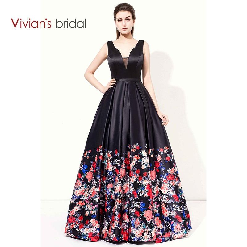 Vivian's Bridal Double V Neck Sleeveless Satin A Line   Evening     Dress   Long Print Flower Prom   Dress   Formal   Evening   Gown ED200-11