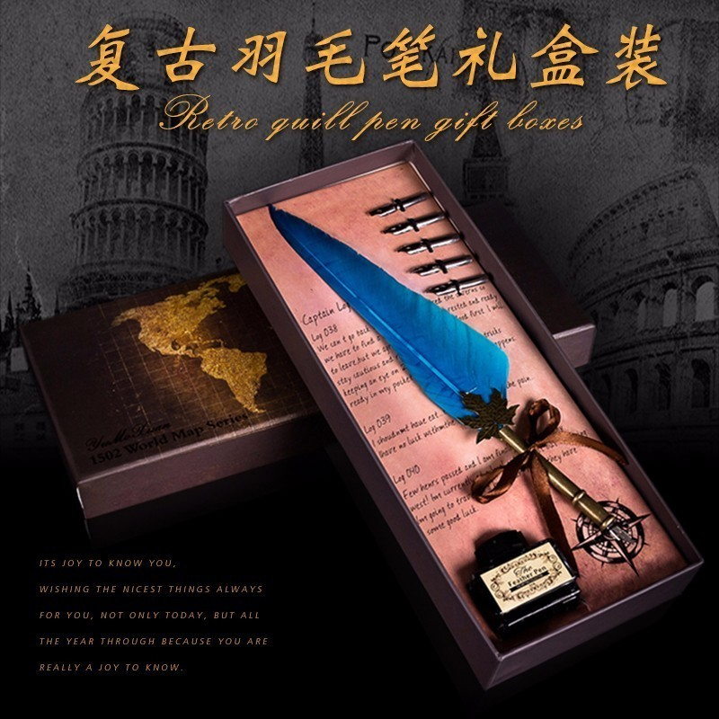 High Quality Antique Quill Feather Dip Pen Writing Ink Set Stationery Gift Box With 5 Nib Wedding Gift Quill Pen Fountain Pen kicute antique pure goose feather quill dip pen fountain pens writing ink set rare stationery gift box with 5 nib wedding gift