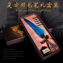 High Quality Antique Quill Feather Dip Pen Writing Ink Set Stationery Gift Box With 5 Nib Wedding Gift Quill Pen Fountain Pen jinhao high quality business calligraphy pen set 0 5 mm 1 0 mm nib metal fountain pen with dragon clip ink pens with gift box