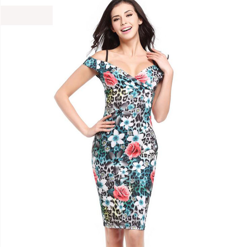 b51dbe59aa24 2017 Women Sexy Summer Dresses Brief Spaghetti Strap Print vestido Plus  Size Office Dress Drop Shipping -in Dresses from Women s Clothing    Accessories on ...