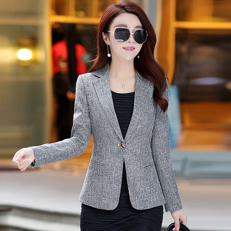 Women Suit 2019 Autumn New Slim Jacket Long-Sleeved Casual Temperament Suit Large Size Women Short Coat Spring Fashion Suit FC80