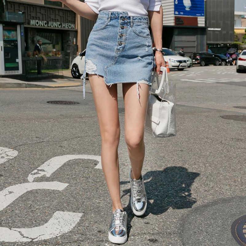 b6bd597db Casual Irregular alta cintura falda de mezclilla lavado ligero mujeres  rasgado Mini Falda mujer mini saia mujer 2018 verano