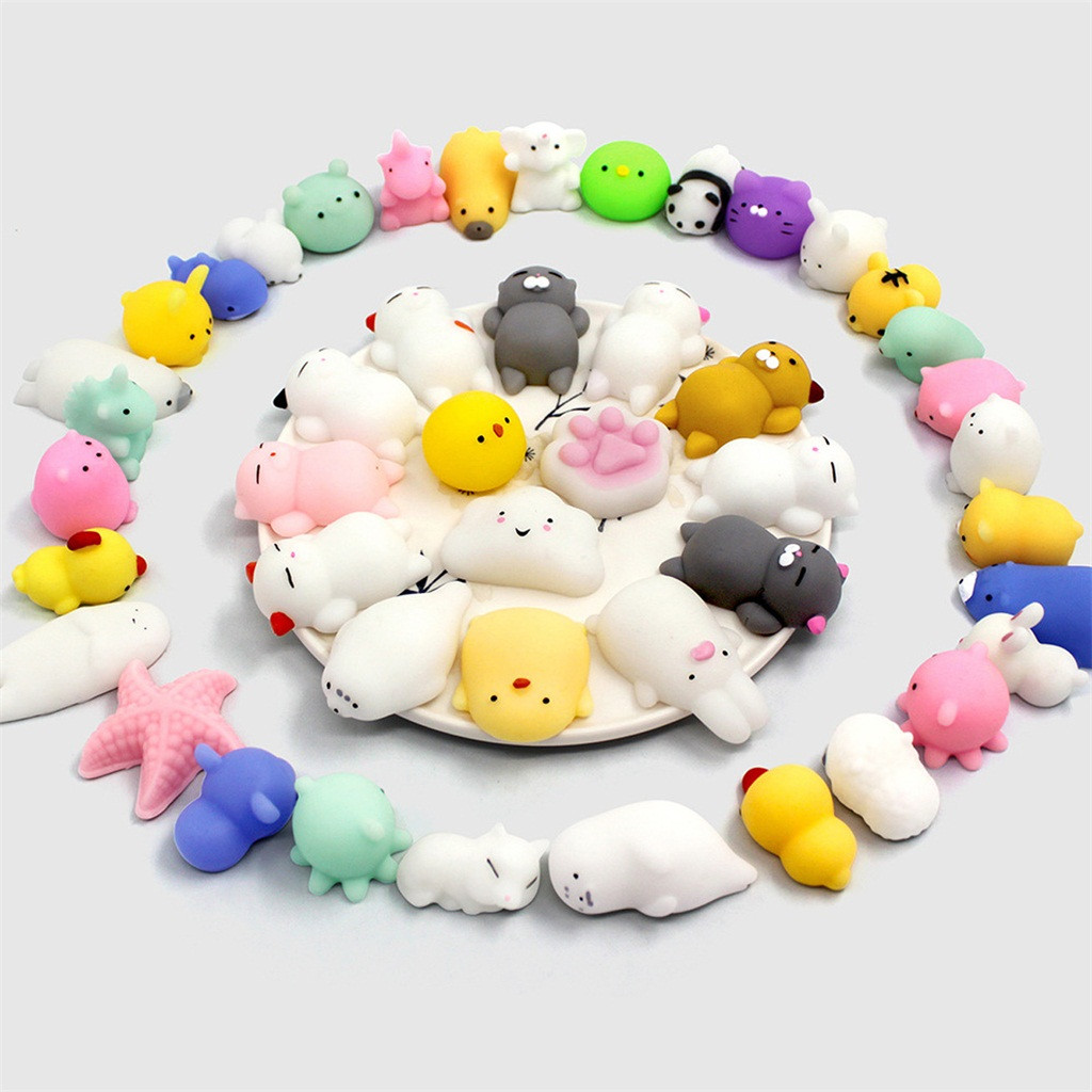 40Pcs Squishies Mochi Squeeze Toys Soft Cute Squishy Toys Stress Reliever Cartoon Release Stress Animal Toys L516