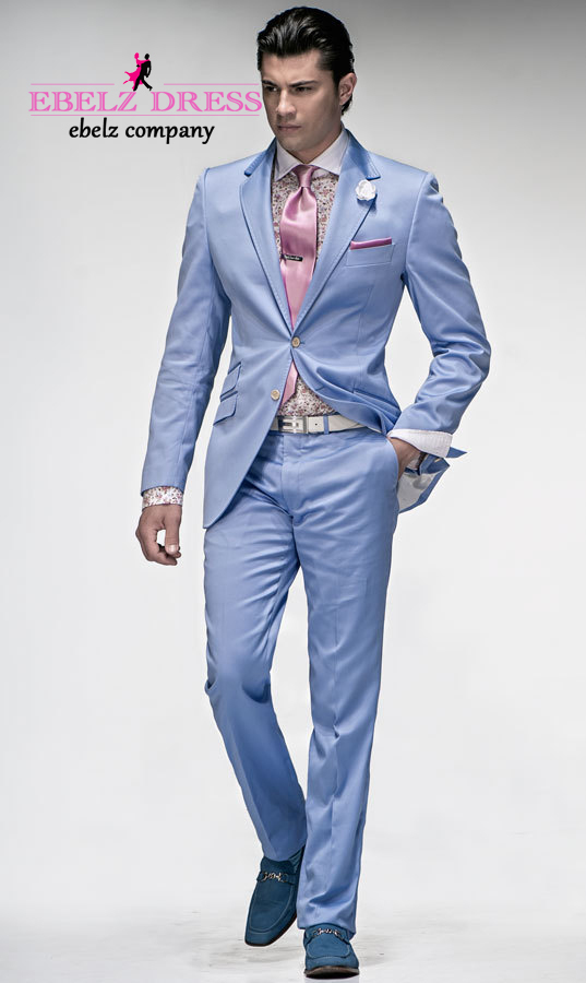 Men suits slim fit mens light blue suits designer suits zipper fly ...