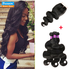 8A Brazilian Virgin Hair With Closure 3 Bundles With Closure Brazilian Body Wave With Closure Bundle Human Hair and Closure