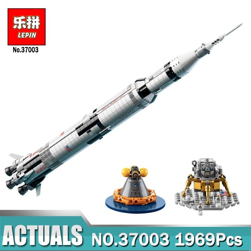 LEPIN 37003 Die Apollo Saturn V Trägerrakete Set Kind Pädagogische Blöcke Ziegel Spielzeug Kompatibel Legoingly Creator 21309
