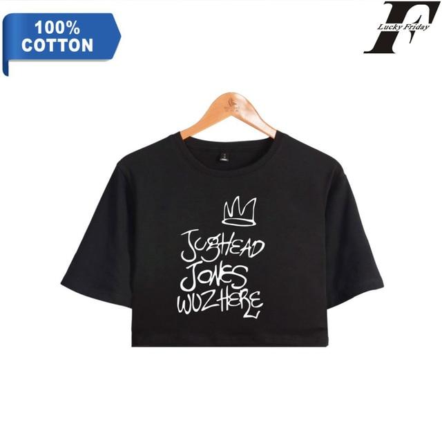 f1215b86a34c LUCKYFRIDAYF Crop koszulka top Riverdale 100% bawełna fanów koszulka z  krótkim rękawem Hip Hop krótki