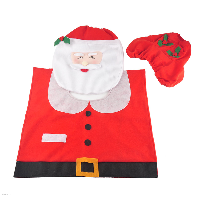 Santa Claus Toilet Seat Cover Case And Rug Set Clothes Bathroom Christmas Decoration Bath Mat