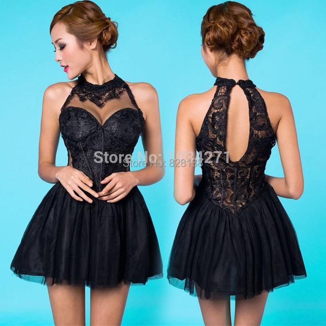 1d93068cb3c8 2014 Cute Sweet 16 Dresses Black Lace A-line Appliques Corest Short  Homecoming Dress