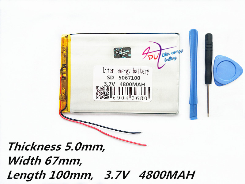 Tablet pc 3.7V,4800mAH (polymer lithium ion battery) Li-ion battery for tablet pc 7 inch 8 inch 9inch [5067100] 2016 promotion new standard battery cube 3 7v lithium battery electric plate common flat capacity 5067100 page 5