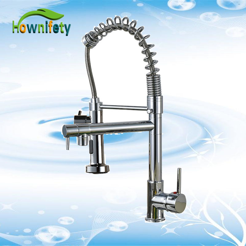Contemporary Luxury Chrome Spring Kitchen Sink Mixer Faucet Dual Water Outlet Swive Spout Cold Hot Water Tap