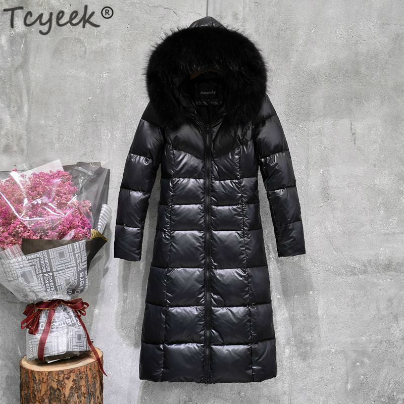 Tcyeek Winter Jacket Women X-Long Down Coat Female Plus Size Fur Hooded Warm Clothes Slim Parka Coats Ladies Jackets LWL1056