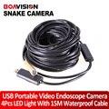 15 m Cabo USB Fio Tubo USB Snake Camera Inspeção Cam 4LED encanadores cobra Câmera de inspeção à prova d' água