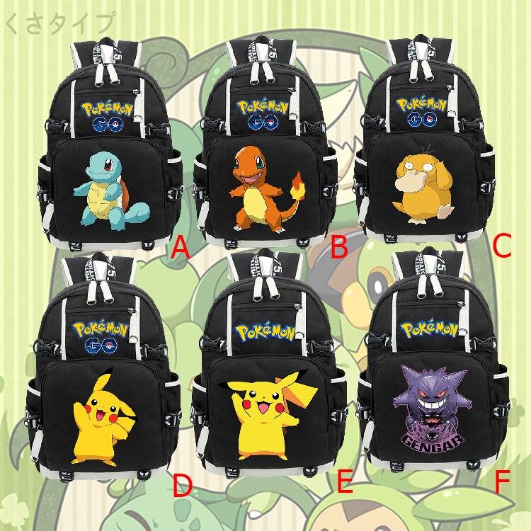 Pokemon Backpack Squirtle Charmander Gengar Psyduck Pikachu Backpack Travel Student School Bag Notebook Backpack Laptop Bag Cool
