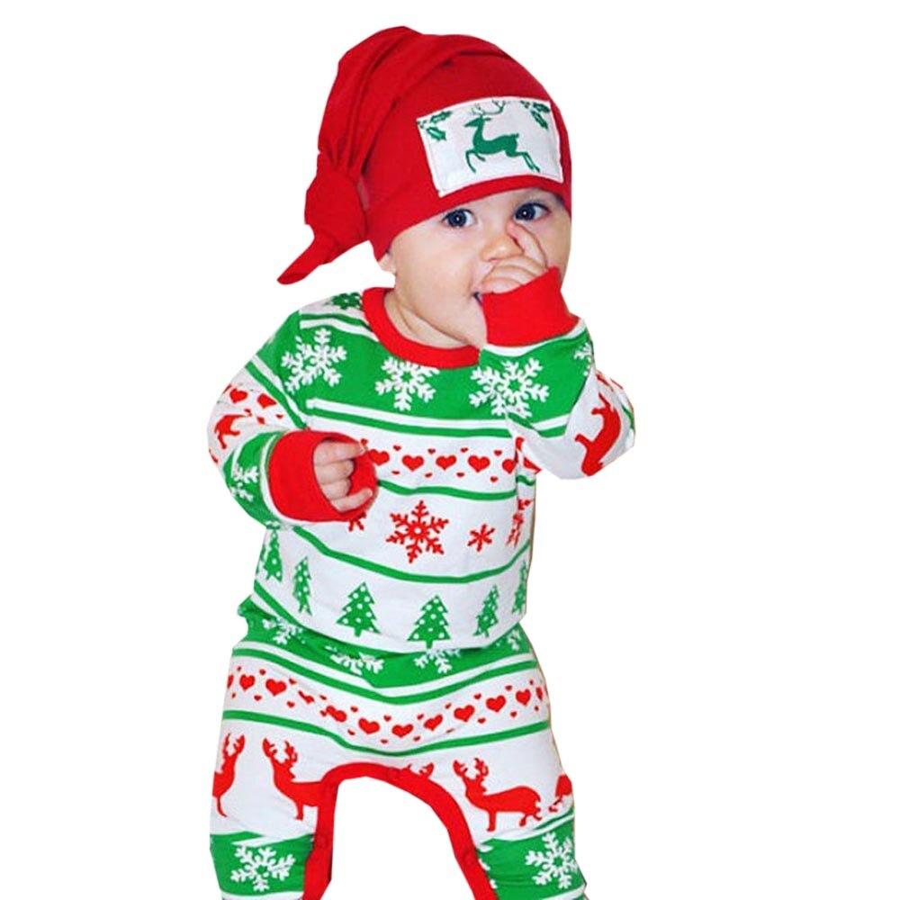 MUQGEW Baby Bodysuit one piece Boy Girl Christmas Long Sleeve Deer Print Clothes Playsuit Outfits Roupas Infantil C06 chic long sleeve one shoulder letter print women s christmas sweatshirt