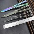 Colorida del acero inoxidable cuchillo entrenamiento de titanio camo mariposa cuchillo balisong cuchillo sin borde envío gratis herramienta dull