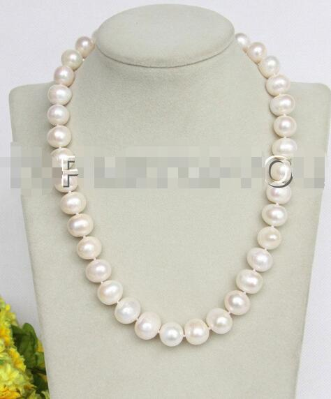 Free Shipping >> new hot Baroque 18 luster Natural 14mm white pearls necklace E3694 image