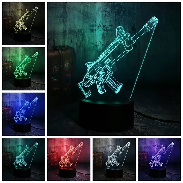 NEW Cool Battle Royale Game PUBG TPS SCAR-L Rifle LED Night Light Desk Lamp RGB 7 Color Boys Kids Toy Home Decor Christmas Gift  1
