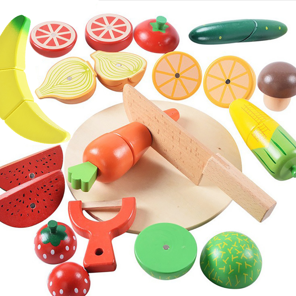 Play House Kitchen Toys Fruits and Vegetables Magnetic Cut Safe Block for Kids Babby