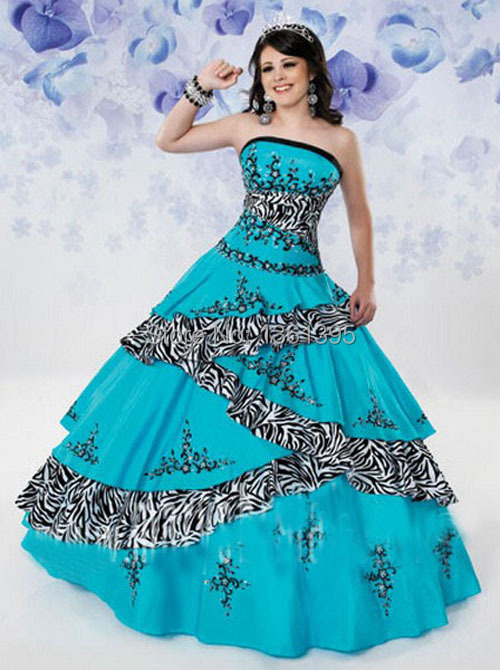 3513a0b627 Popular turquoise zebra printed purple new 2014 sweet 15 dress quinceanera  ball gown puffy corset sweet 16 dress-in Quinceanera Dresses from Weddings  ...