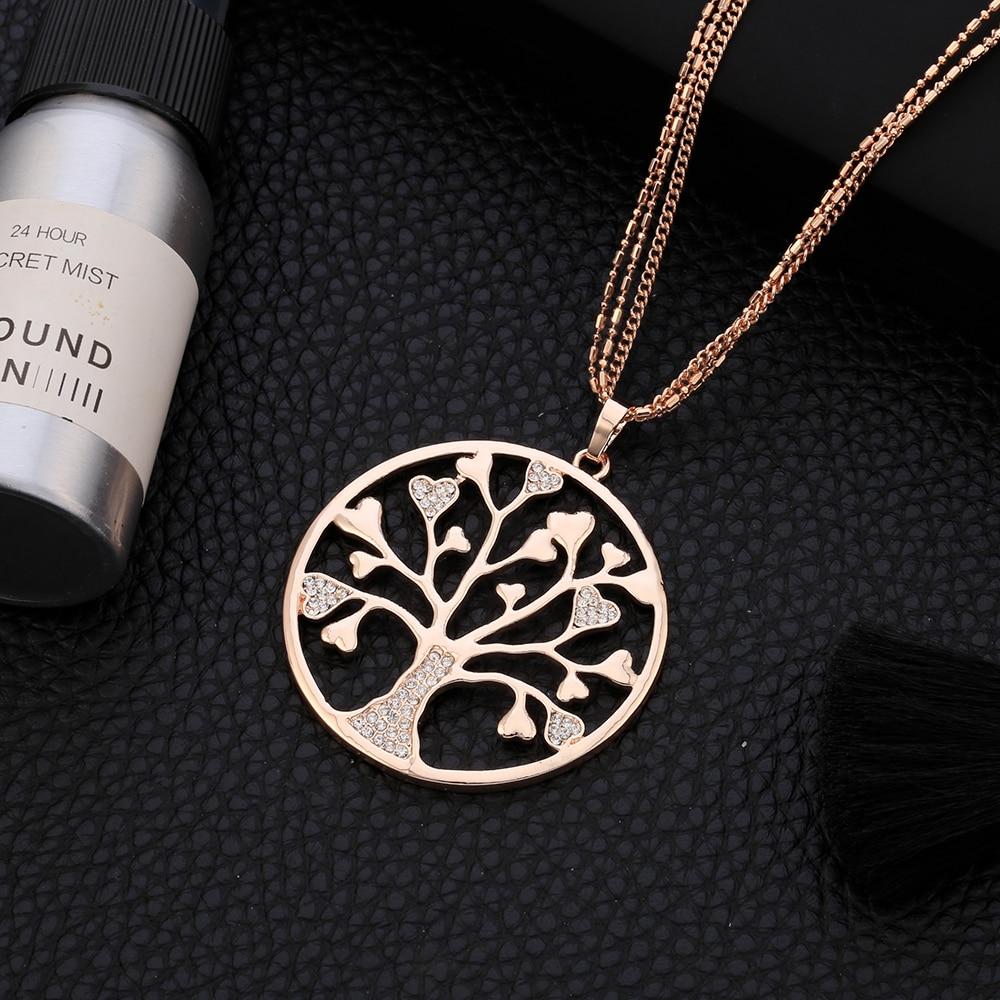 Pohon Kehidupan Liontin Kalung untuk Wanita Vintage Bersinar Kristal - Perhiasan fashion - Foto 3