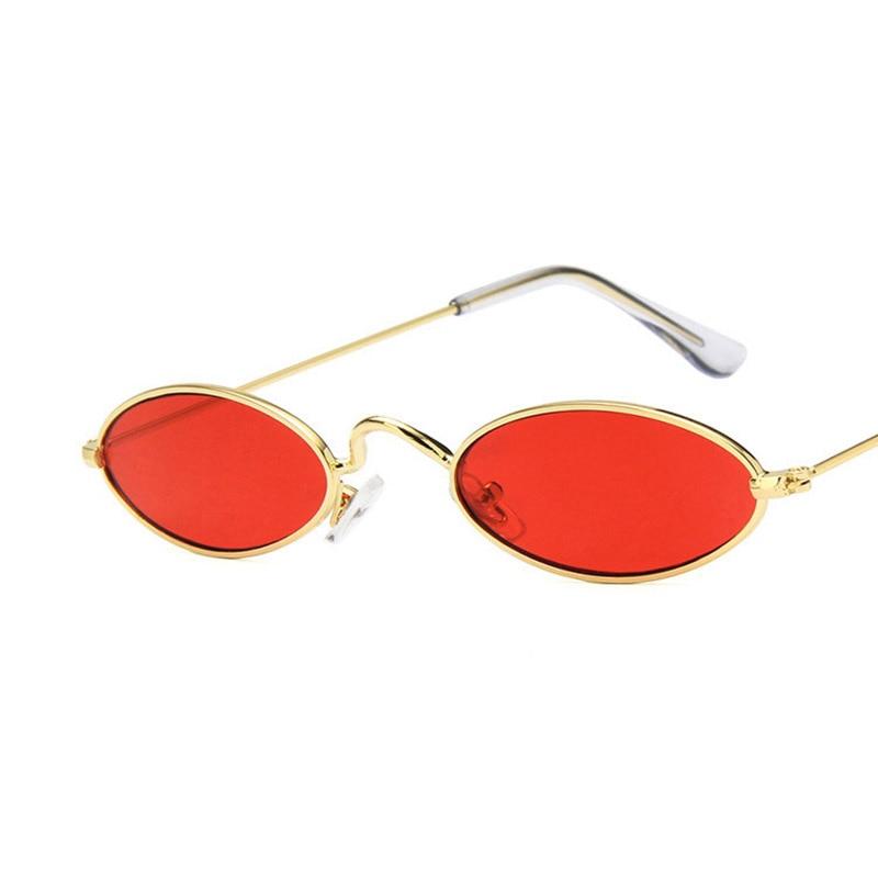 2018 New Vintage Small Oval Sunglasses Women Men Brand Designer Shades Female Red Clear Lens Sun Glasses Retro Metal Men Eyewear