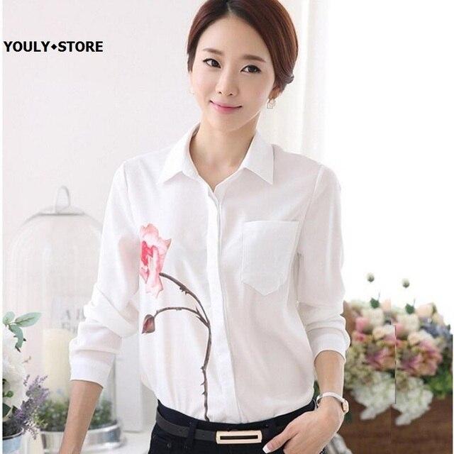 3d9b7afb0f5 New Design Women's White long Sleeve Rose Flower Printed blouse shirt 2017  summer spring OL office work ladies Lapel shirt tops