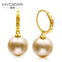 MYDEAR Classical Gold Hoop Earrings For Women Big Pearl Earrings Diamond Earrings