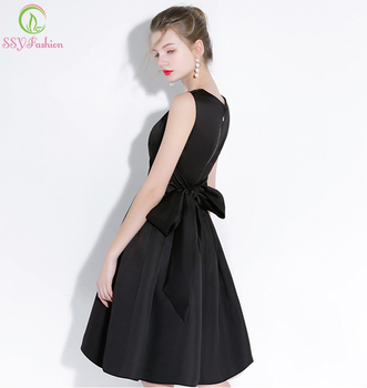 SSYFashion New Simple Little Black Dress Sleeveless Big Bow Back Knee-length Elegant Banquet Cocktail Dresses Lovely Party Gown cocktail dress