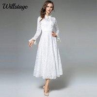 Willstage 긴 흰색 레이스 드레스 여성 메쉬 자카드 꽃 우아한 파티 요정 드레스 러플 소매 2018 봄 겨울 Vestidos