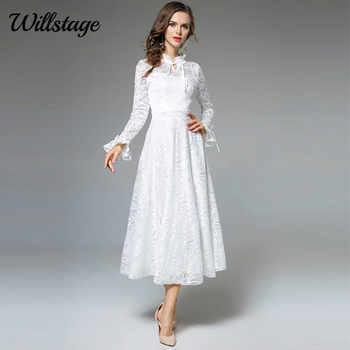 Willstage Long White Lace Dress Women Mesh Jacquard Floral Elegant Party Fairy dress Ruffled Sleeve 2019 Spring Winter Vestidos - SALE ITEM Women\'s Clothing