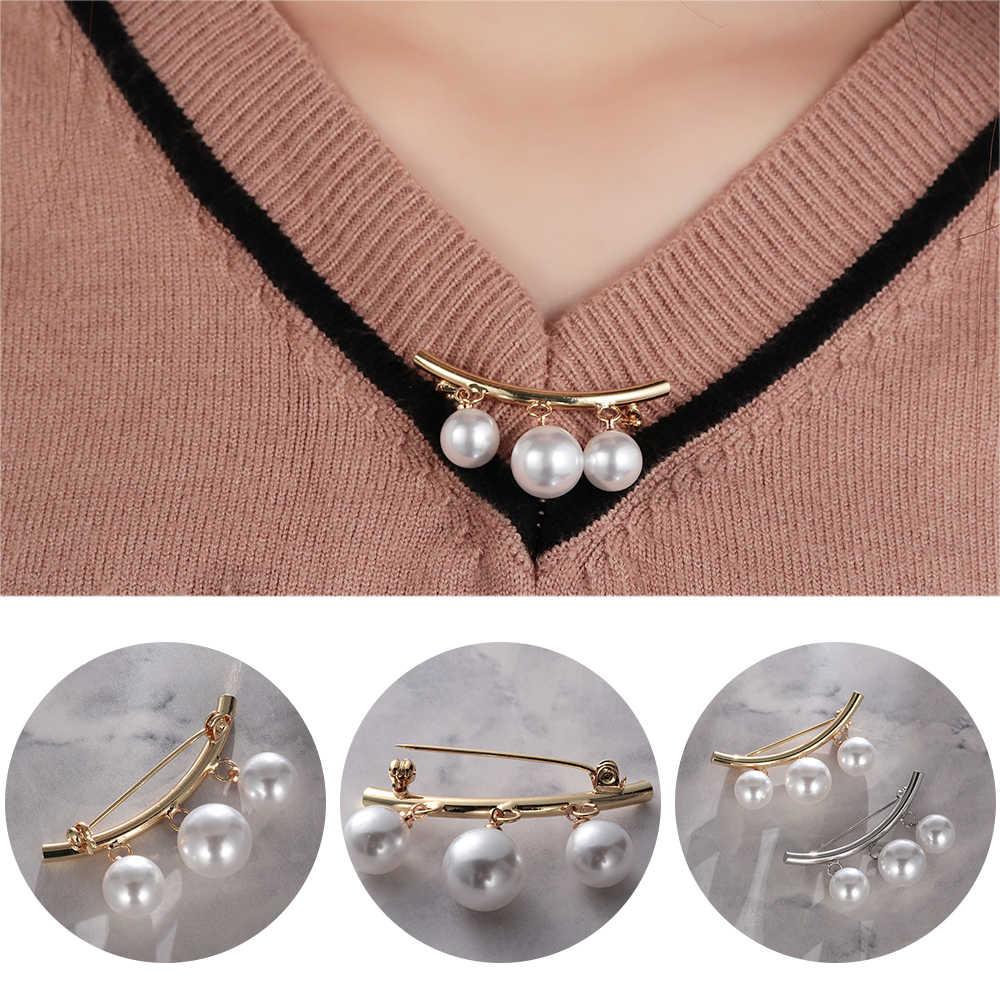 1PC Pesona Mutiara Tiga Bros Mutiara Double Kemeja Stick Pin Syal Gesper Pin Bros Sweater Blus Korsase Perhiasan Aksesoris