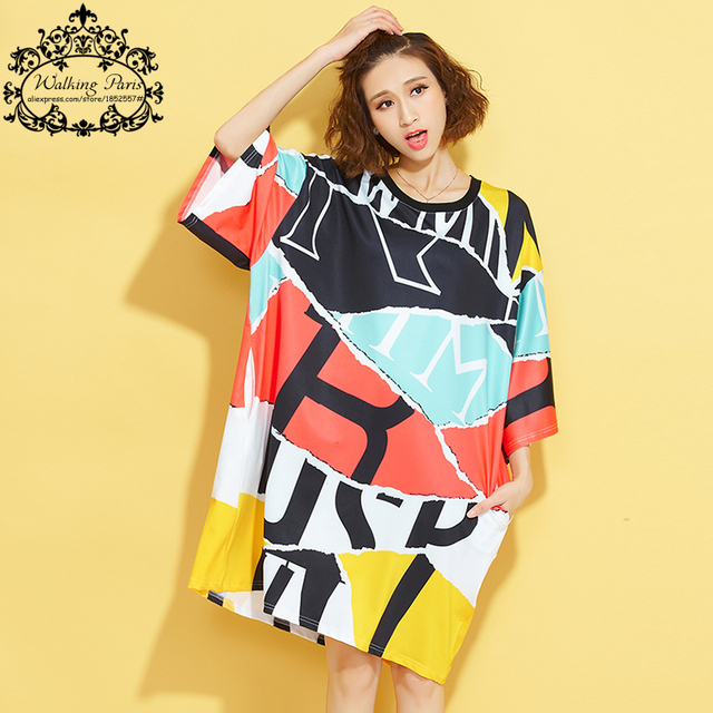 Plus Size Autumn Women T-Shirt Striped Pattern Print Casual Fashion Female Long New Patchwork Color Big Size Tops&Tees 4XL Dress