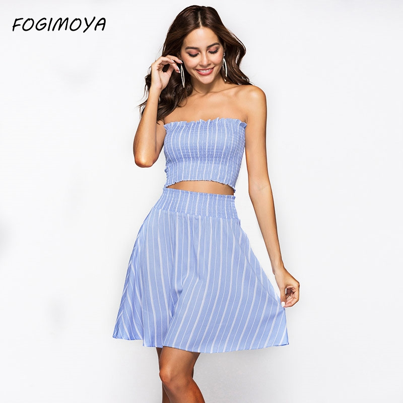 FOGIMOYA Striped Print Set Women Summer 2018 Sexy Sleeveless Strapless Vest And Striped A Line Mini Skirts Two Pieces Sets New