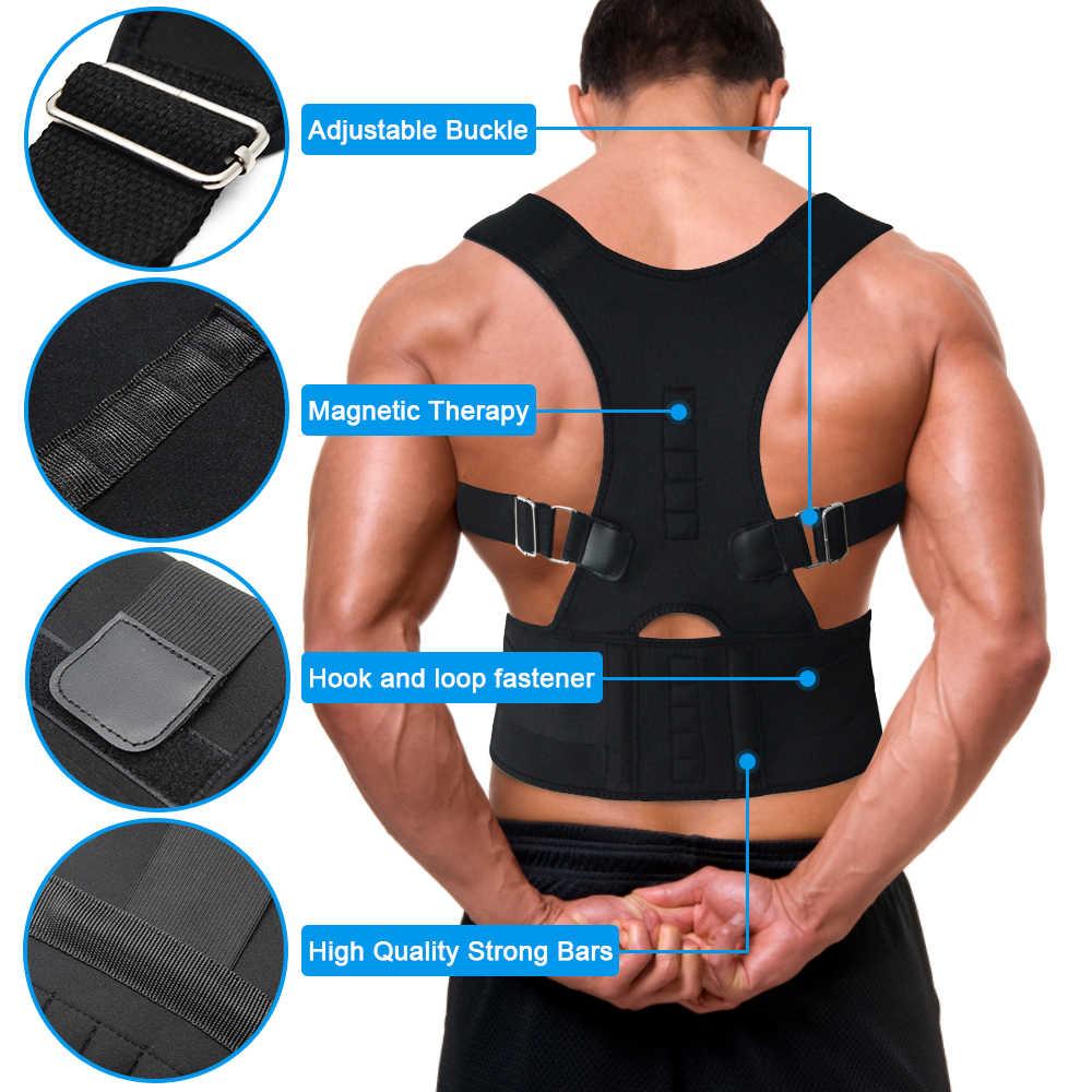 Regolabile Magnetico Postura Correttore Corsetto Indietro Brace Torna Cintura di Sostegno Lombare Dritto Correttore de espalda