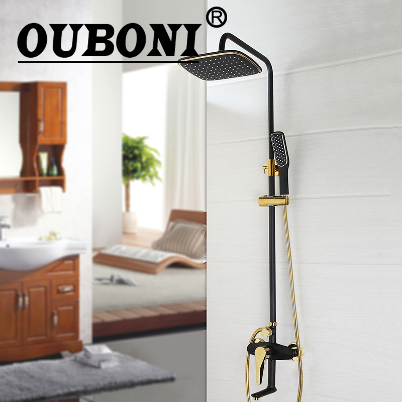 OUBONI Black Shower Set Gold-plated Wall Mounted Bath Shower Faucet Rotation Shower Head Water Saving High Pressure 1 piece free shipping anodizing aluminium amplifiers black wall mounted distribution case 80x234x250mm