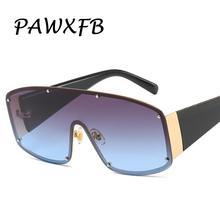PAWXFB 2019 Oversized Sunglasses Goggle One Piece Lens Sun Glasses Big Frame Vintage Women Shades UV400