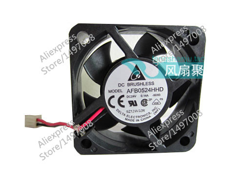 Free Shipping For DELTA  AFB0524HHD, -9D93  DC 24V 0.14A, 50x50x20mm 50mm 2-wire 2-pin connector Server Square fan обогреватель delta d 25 9
