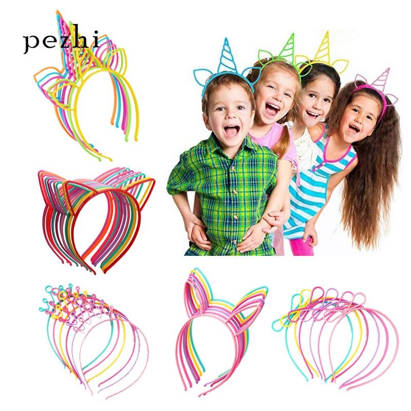 10Pcs Cat Bow Hairbands Cat Ear Hair Hoop Costume Party Headwear for Women Girls